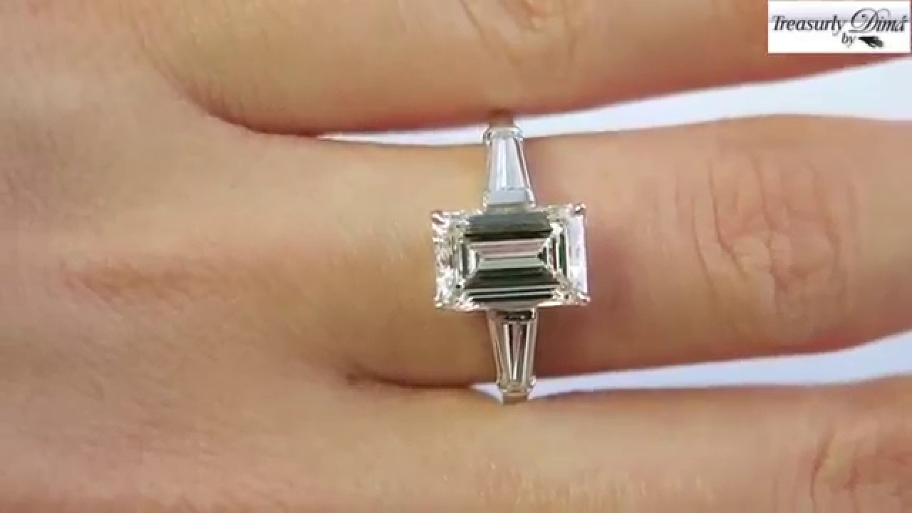 GIA 2 67ctw Estate Vintage Emerald Cut Diamond Platinum Engagement     GIA 2 67ctw Estate Vintage Emerald Cut Diamond Platinum Engagement Ring    Matching Wedding Band