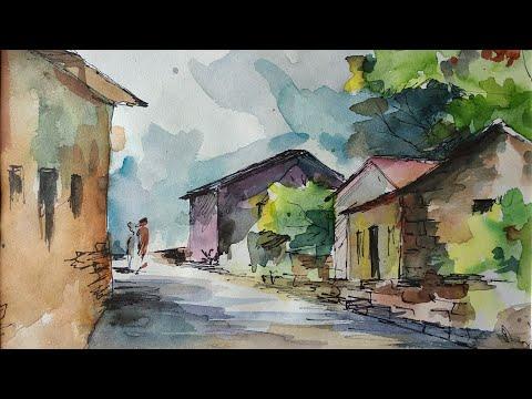 Watercolor sketchbook  landscape painting  by Afreen Khan