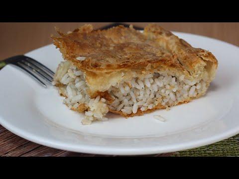 Рыбный пирог! Вкусный пирог с консервой и рассыпчатым рисом из слоеного теста.