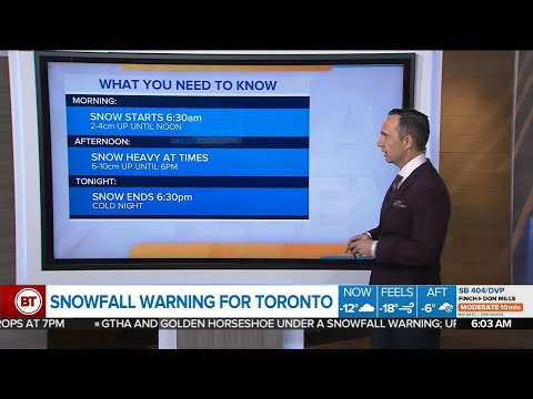 Toronto under a snowfall warning