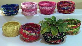 Cestas de corda e tecido por Maria Amora