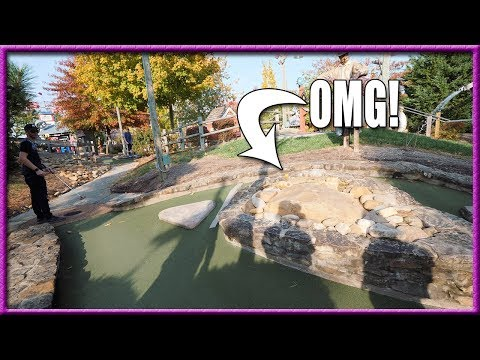 CRAZY MINI GOLF SHOTS AND SUPER LUCKY HOLE IN ONE!