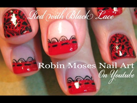 Valentine Nail Art For Short Nails Sexy Black And Red Lace Design