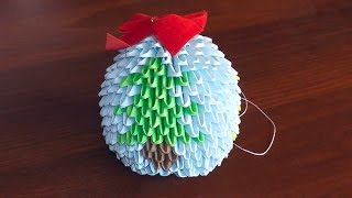 Модульное оригами на Новый год Елочная игрушка (мк)