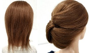 Объемный пучок на Короткие волосы из РЕЗИНОК. Быстрая Прическа.Easy Hairstyles for Short Hair