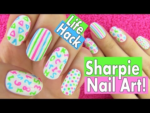 Thumbnail: Sharpie Nails, Nail Art Life Hacks. 5 Easy Nail Art Designs for Back to School!