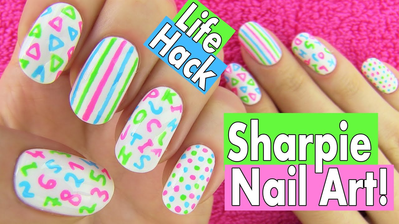Sharpie Nails, Nail Art Life Hacks. 5 Easy Nail Art