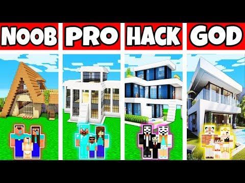 Minecraft: FAMILY MODERN VILLA HOUSE BUILD CHALLENGE - NOOB Vs PRO Vs HACKER Vs GOD In Minecraft