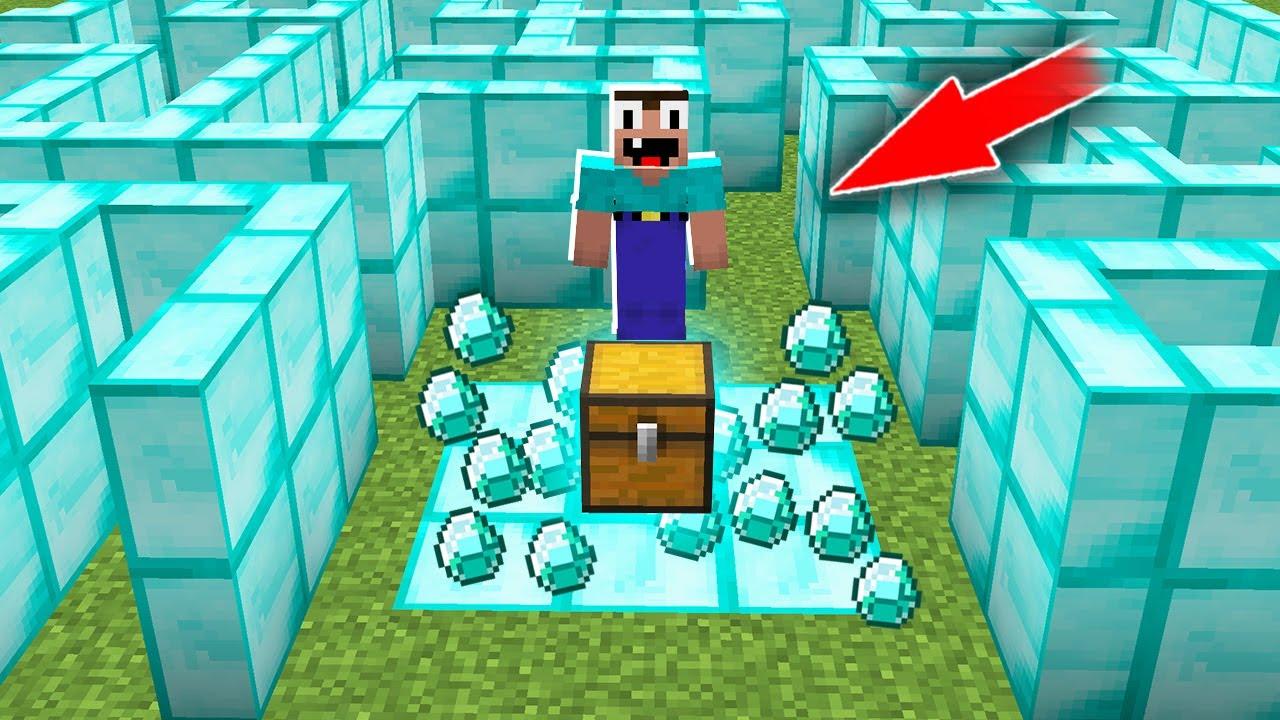 Minecraft NOOB vs PRO: NOOB FOUND SUPER TREASURE IN DIAMOND MAZE! 100% trolling