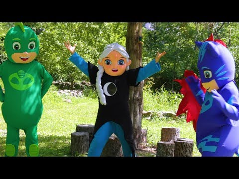 PJ Masks Heroes vs Villain Elsa with Paw Patrol Rubble In Real Life, Slime and Toys | Ellie Sparkles