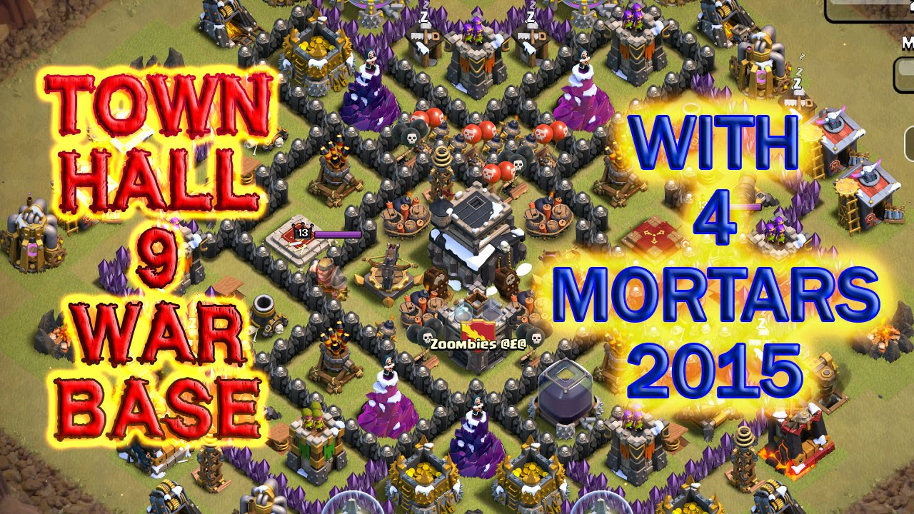 town hall 9 war base 4 mortars - th9 war base 4 mortars ...