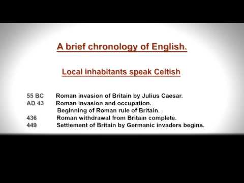A Brief Chronology, Timeline and History of the English Language.