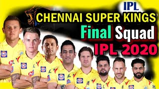 Vivo IPL 2020 Chennai Super Kings Final and Confirm Squad | CSK Final Players List in IPL 2020