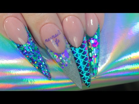 MERMAID LIFE ACRYLIC NAILS | MULTICHROME + STAMPING