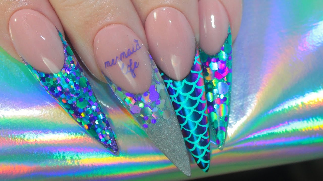 MERMAID LIFE ACRYLIC NAILS   MULTICHROME + STAMPING - YouTube