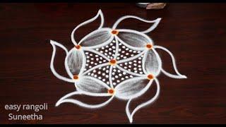 Creative 3 dots rangoli & kolam designs || easy rangoli by Suneetha || Trendy muggulu rangoli Art