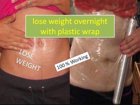wrap saran wrap around stomach