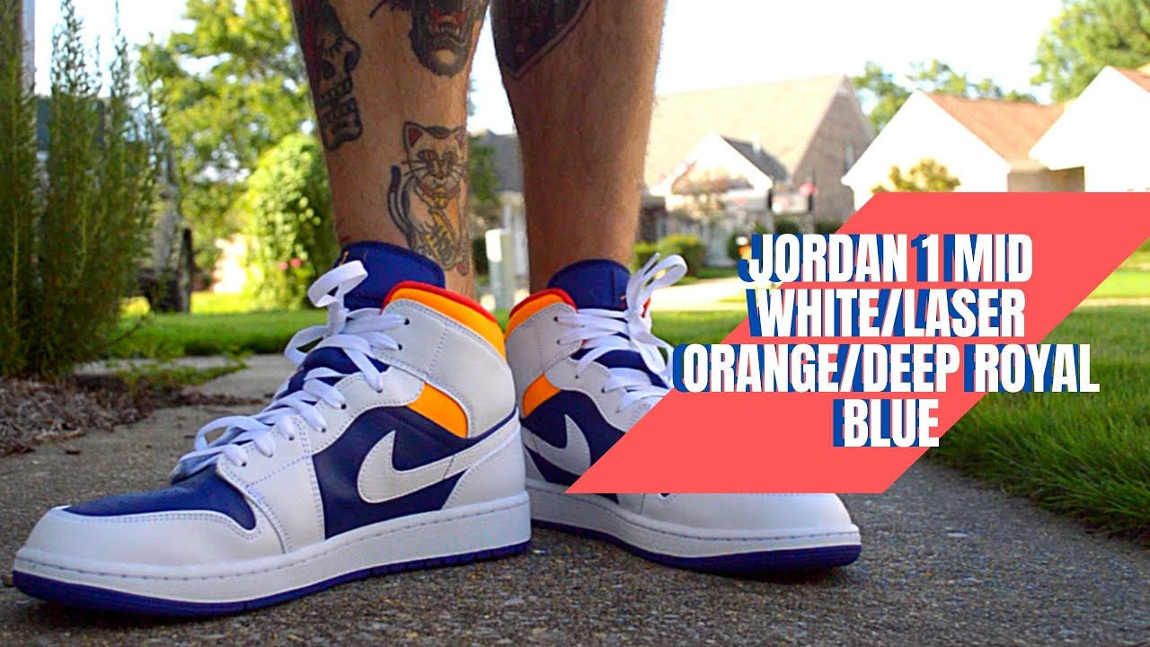 Jordan 1 Mid White/Laser Orange/Deep Royal Blue *ON FEET* 2020 HD