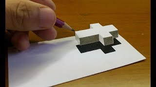 Very Easy!! How To Draw 3D Floating CROSS - 3D Trick Art on paper step by step