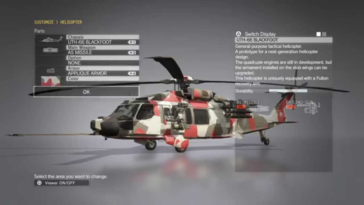 Mgsv Elicottero : Metal gear solid customize helicopter weapons youtube
