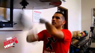 Frankie Gomez Working the Speed Bag in Camp