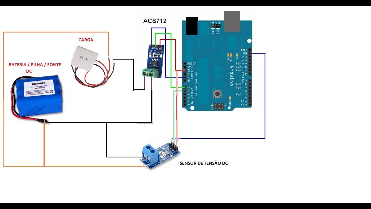 Como medir Tensão e Potencia em corrente D C  com Arduino e Sensor de  Tensão + ACS712