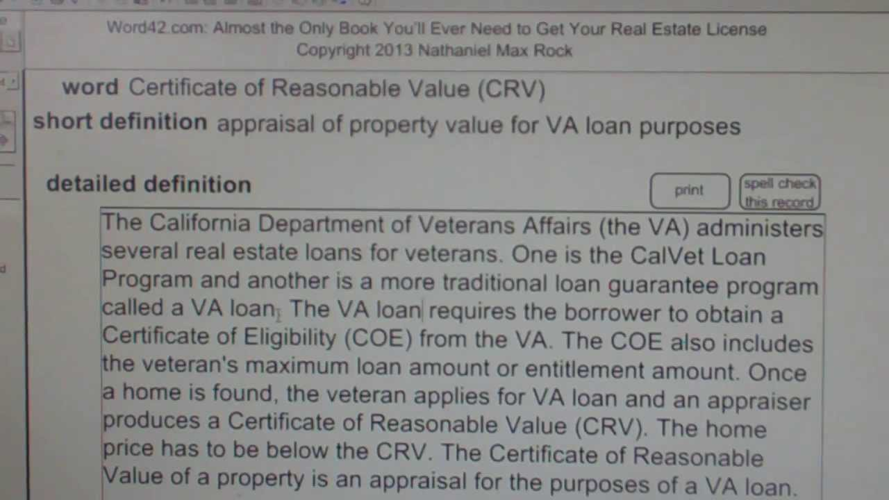 certificate of reasonable value  crv  ca real estate