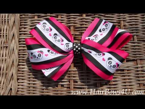Hot Pink Black Panda Polka Dot Hair Bow - video demo