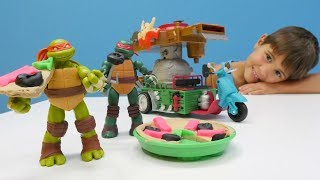 Play Doh Oyun Hamurundan Ninja Kaplumbağalar'a PIZZA! 🍕🚘 Kötü Mutant ile savaşı! Araba tamir oyunu