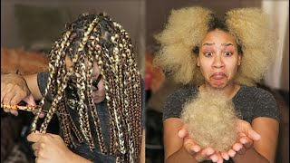TAKING DOWN OLD BOX BRAIDS| Removing Build Up & Shed Hair + Length Check