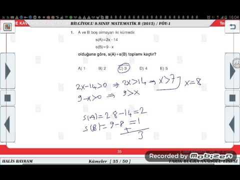 9 SINIF MATEMATİK DERSİ KÜMELER KONU ANLATIMI 3=ÖZELDERS=05053968315
