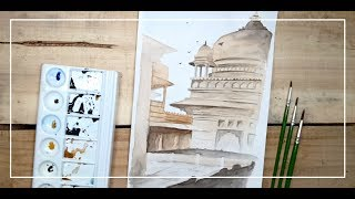 How to Draw and Paint Old Fort Landscape Painting with Water Colours | Drawing Tutorial
