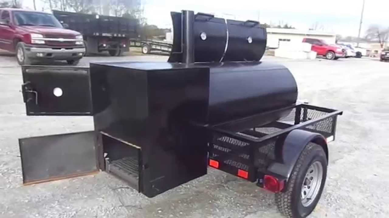 Smoker Trailer Wood Charcoal Pit Wood Cage BBQ Cooker Grill Box sle