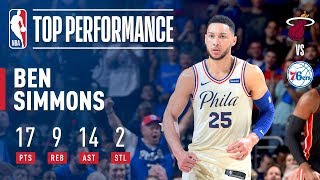 Ben Simmons Was Dropping Dimes! 14 Assists In Playoff Debut!