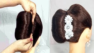 Very Easy french roll Hairstyles for party | French Bun Hairstyles 2019 for girls | hair style girl