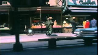 United States soldiers of the 3rd Infantry patrol the streets during riots in Was...HD Stock Footage