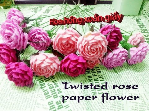 Twisted rose paper flower - Cách làm hoa hồng xoắn giấy bằng giấy nhún