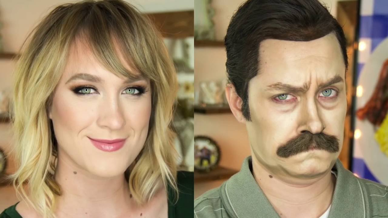 Woman Uses Makeup To Magically Transform Herself Into Ron Swanson - This self taught cosplay artist can turn herself into any character