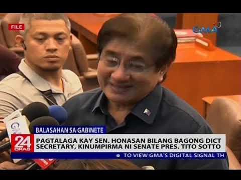 Pagtalaga kay Sen. Honasan bilang bagong DICT secretary, kinumpirma ni Senate Pres. Tito Sotto