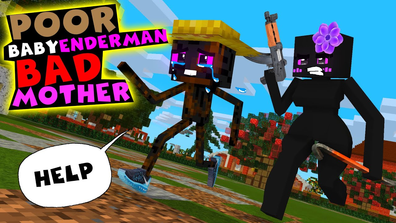 Monster School : POOR BABY ENDERMAN BAD MOTHER Family Life - Minecraft Animation