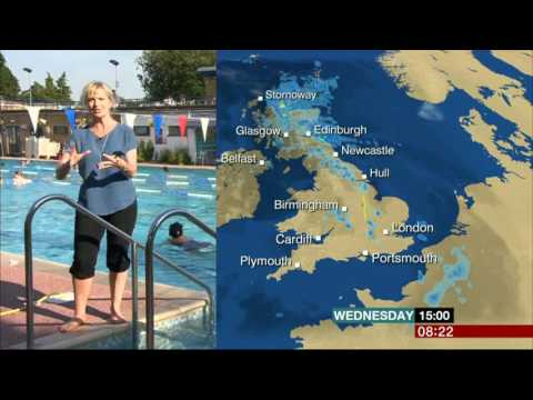 Carol Kirkwood Emerging From Hampton Pool BBC Weather 2016 07 20