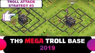 TH9 Mega Troll Base 2019 - TH9 Legend Push Army