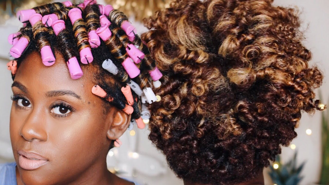 Perm Rod Set On Dry Tapered Natural Hair Hairstyle Tutorial Youtube