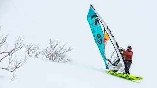 Levi Siver goes snow windsurfing in a Japanese mountain