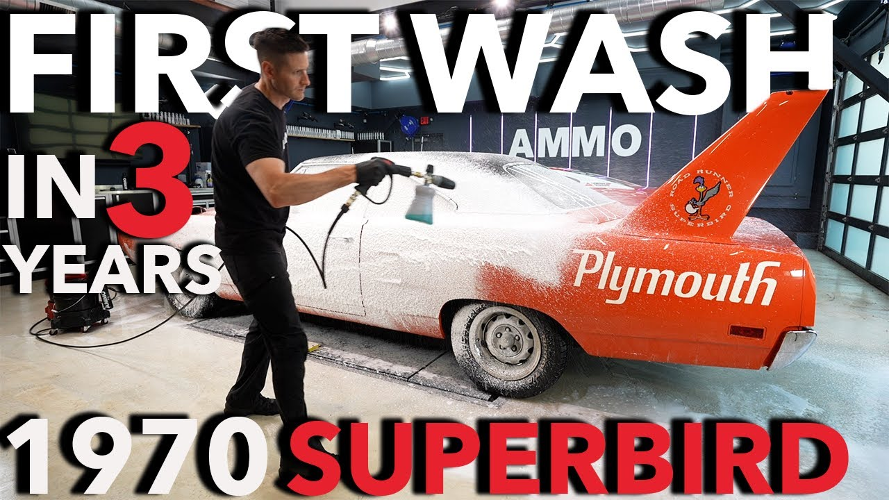 First Wash in 3 Years Plymouth SuperBird Barn Find