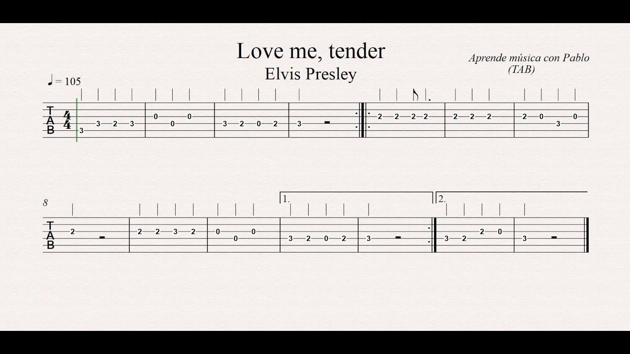 love me tender tab guitarra tablatura con playback. Black Bedroom Furniture Sets. Home Design Ideas
