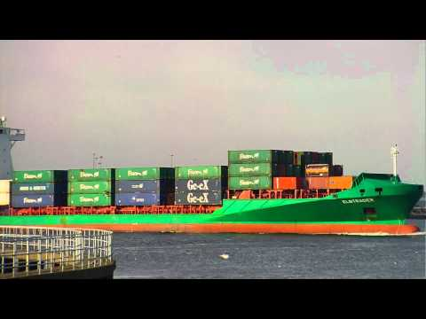 Elbtrader Container ship leaving Dublin Port, Ireland