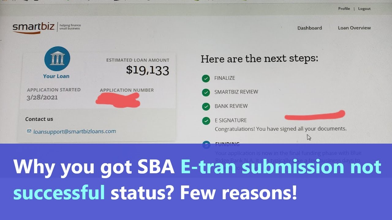 Download SBA Etran Submission Not Successful on Smartbiz or another lender - what to do and why you got this?