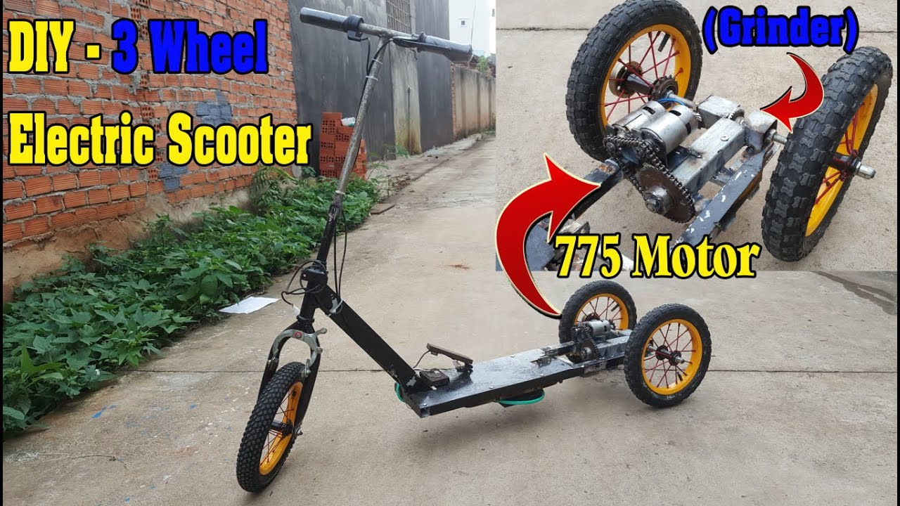 Build a 3 Wheel Electric Scooter using dual 775 Motor