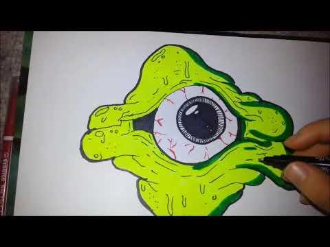Draw Graffiti Monster Eye By Nesssnake Youtube